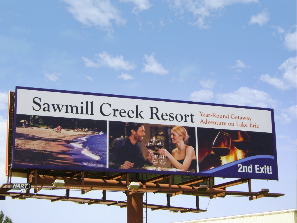 image of a general branding advertisement for Sawmill Creek Resort