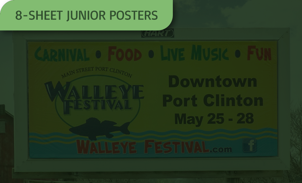 image of an 8-sheet junior poster with a green overlay