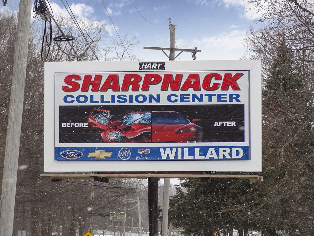 image of Sharpnack Collision Center's 8-sheet junior poster campaign