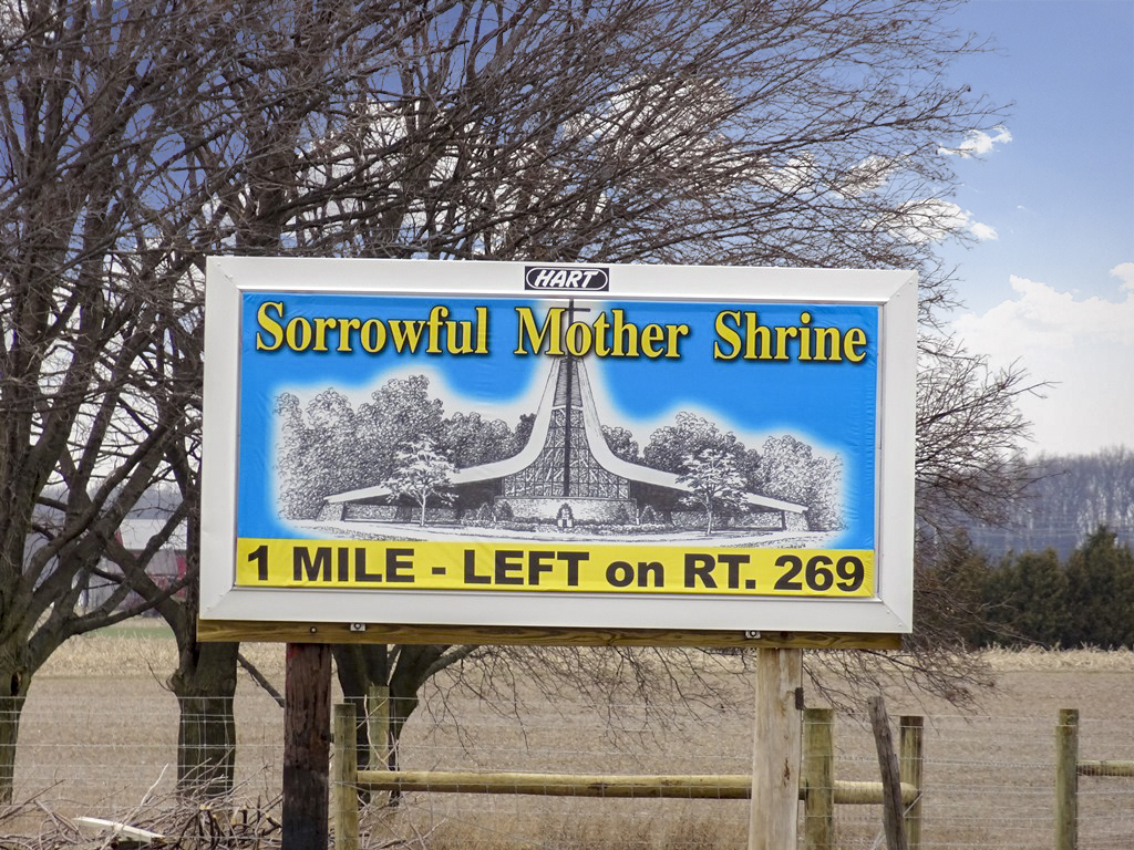 image of a directional ad for Sorrowful Mother Shrine