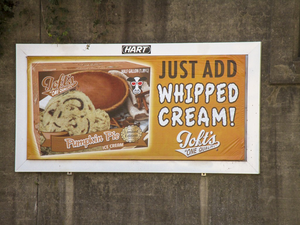 image of Toft's advertising their pumpkin pie ice cream