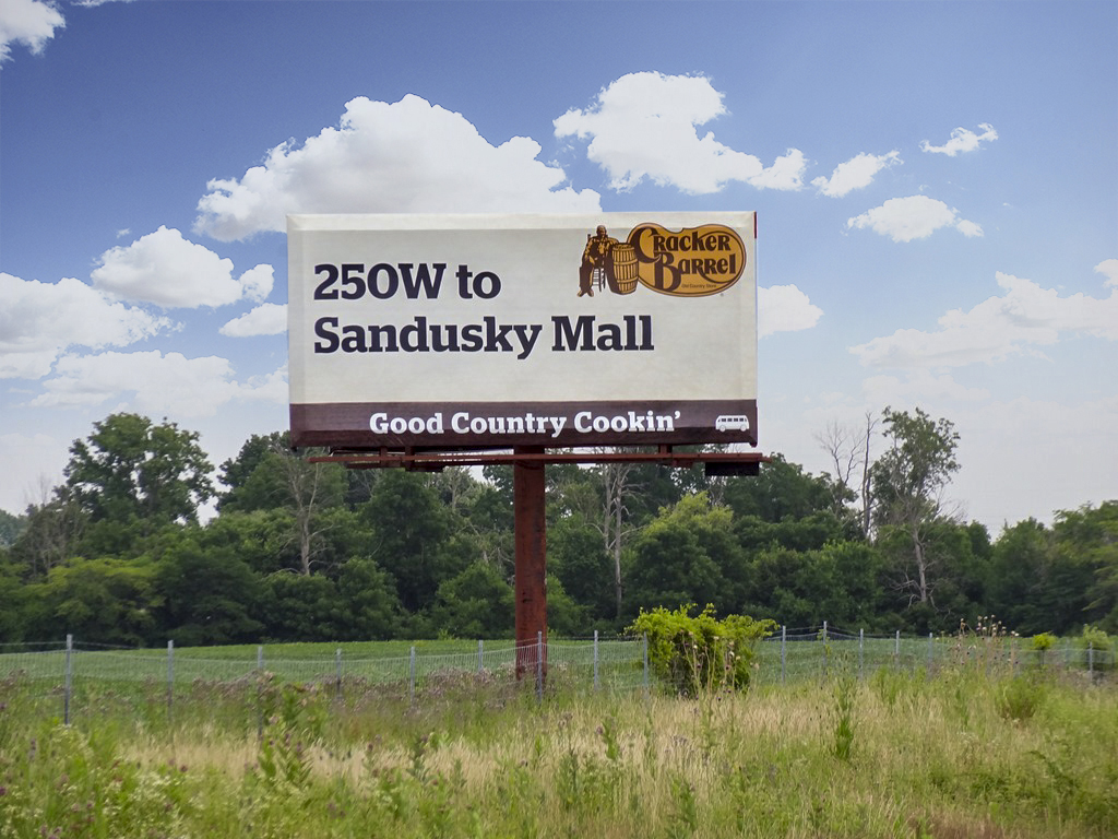 image of a Cracker Barrel's simple directional ad