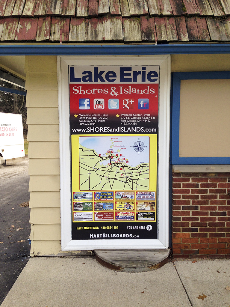 image of a vacationland map on the outside of a business